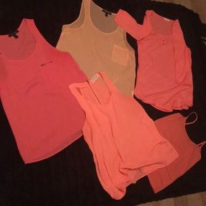 Assortment of pink tops!